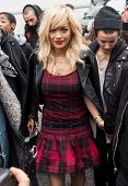 NEW YORK-FEB 9: Singer Rita Ora arrives at the DKNY fashion show during Mercedes-Benz Fashion Week a