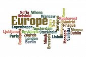 European Capitals word cloud on white background