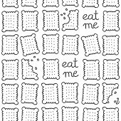 "stock photo of eat me  - ""eat me"" square cookies monochrome sweet seamless pattern on white background - JPG"