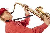Man Playing Tenor Saxophone Enthousiastically
