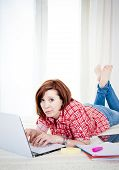 Red Hair Student, Business Woman Lying Down Working On Laptop