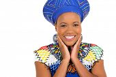 cute african zulu woman closeup portrait on white