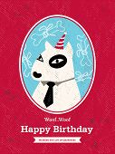 Dog Cartoon Birthday Card Design