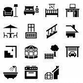 stock photo of house representatives  - Icon set with 15 vector symbols representing different parts of the house - JPG