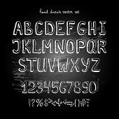 stock photo of hand alphabet  - chalkboard vector hand drawing alphabet - JPG