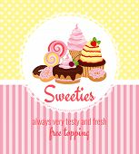 Greeting card template with sweets and candy