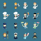 stock photo of policeman  - Large set of funny professional people avatars with a doctor  nurse  architect  builder  chef  cook  water  waitress  policeman  policewoman  painter  pilot  priest  air hostess and farmer - JPG