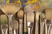 Artist's Brushes On Pallet