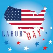 stock photo of bundle  - Labor Day of American Flag Map - JPG