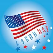 Labor Day of waving American Flag on blue background. Vector illustration