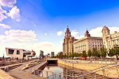 Cityscape of Liverpool Pier Head.