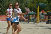 MOSCOW, RUSSIA - JULY 19, 2014: Women's double of Russia in the match against Italy during ITF Beach