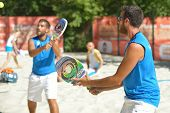 MOSCOW, RUSSIA - JULY 19, 2014: Men double of Greece in the match against Thailand during ITF Beach
