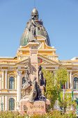 LA PAZ, BOLIVIA, MAY 8, 2014 - monument of Pedro Domingo Murillo and Government Palace of Bolivia, P