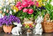 Easter Decoration With Cake, Flowers, Eggs
