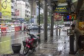 Bangkok, Thailand-sept 25Th: Sukhumvit Road During A Rainstorm On September 25Th 2012. Sukhuvit Road