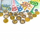 Coins And Banknotes. Euro Currency. Money Background