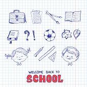 School objects, sketch style