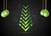 Elegant Christmas fir tree with green balls
