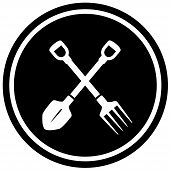 pitchfork and shovel gardening icon