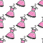 Seamless pattern with doodle dresses