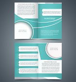 Green bifold brochure template design, business leaflet, booklet