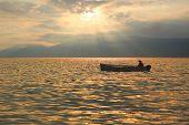 Fishing Boat At Garda Lake, Romantic Mood At Sunset
