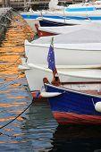 Moored Boats At Sunset