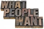 what people want - isolated words in vintage letterpress wood type with ink patina