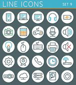 Technology line icons set. Vector web design elements