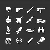 picture of army  - Set icons of army and military isolated on black - JPG