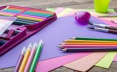 Many school stationery in a heap cozy colors
