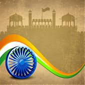 picture of asoka  - Stylish 3D Asoka Wheel on national flag colors wave on red fort silhouetted grungy brown background for 15th of August - JPG