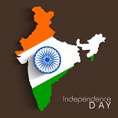 Republic of India map in national tricolors with Asoka Wheel on brown background for Indian Independ