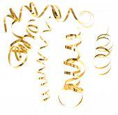 Golden Serpentine Streamer. Party Decoration