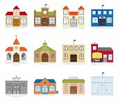 Small Town Public Building Icons Vector Illustration. Variety of public building and institutions sy