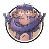 stock photo of chimp  - angry cartoon chimp in a badge - JPG