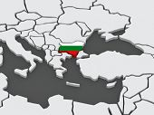 Map of worlds. Bulgaria. 3d