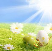 Huevos de Pascua sentados sobre la hierba