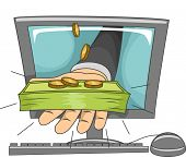 Illustration of a Hand Holding a Stack of Cash Protruding From a Computer Monitor
