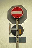 Traffic Signs Safety Transportation Vintage Background
