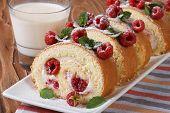 Roulade With Fresh Raspberries Closeup And Milk Horizontal