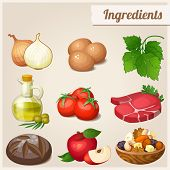 Set of food icons. Ingredients. Loaf of bread, raw eggs, fresh meat, tomatoes, olive oil in bottle,