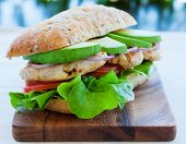 foto of tomato sandwich  - Grilled chicken and avocado sandwich on lettuce and tomato - JPG