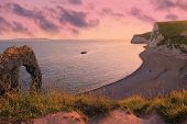 Moody Sunset Scenery, Durdle Door Beach, Dorset