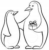 Penguins with a gift box, contours