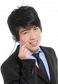 Portrait of an attractive young businessman with a headset