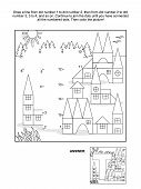 Dot-to-dot and coloring page - letter T, toy town