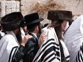 Hassidic Jews Dancing At The Western Wall Jerusalem