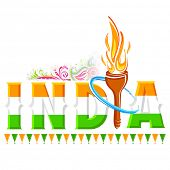 illustration of fire torch in India background